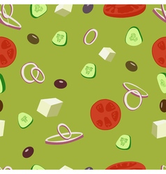 Greek salad seamless patternGreek olive tomatoes vector