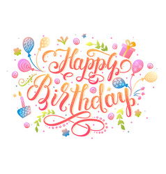 happy birthday lettering design for greeting card vector image