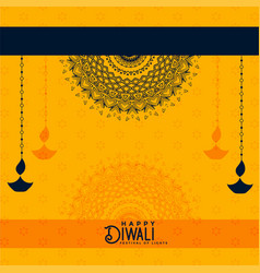 Happy diwali yellow decorative background vector
