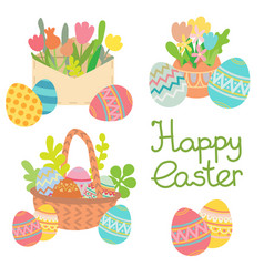 happy easter colored eggs with flowers set vector image