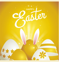 happy easter typography gold background eggs vector image