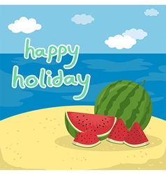 Happy Holiday Watermelon at the Beach vector