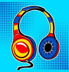 Headphones comic book style vector
