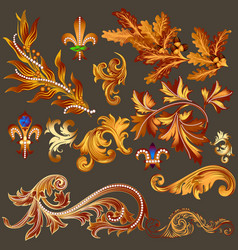 Heraldic collection of golden decorative swirls vector
