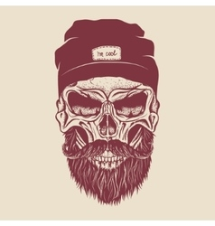 Hipster skull with hairstyle mustache and beard vector
