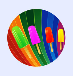 Ice lollies over multicoloured curved stripes vector