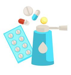 Inhaler and pills or vitamins medication vector