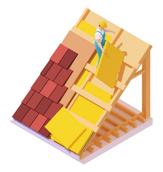 Isometric house roof construction vector