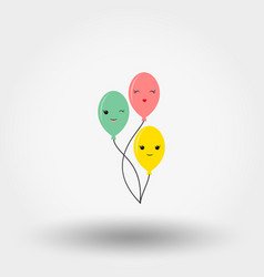 kawaii fun balloons icon flat vector image