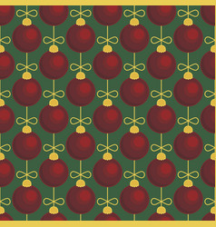 merry christmas tree toy ball seamless pattern vector image