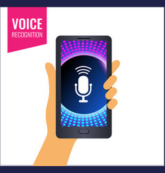mobile app for voice recognition or music sounds vector image
