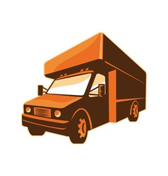 Moving truck delivery van retro vector