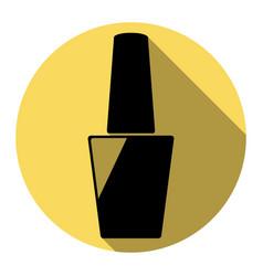 Nail polish sign flat black icon with vector
