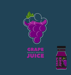 natural red grape juice logo and label vector image