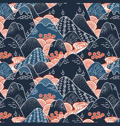 oriental mountains kimono fabric pattern vector image