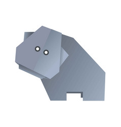 origami hippo animal isolated on white vector image