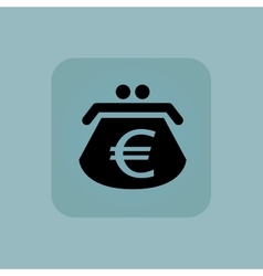Pale blue euro purse icon vector image