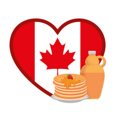 pancakes with maple syrup and heart canadian flag vector image