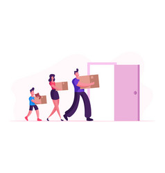 people relocation happy family moving into new vector image