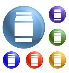 Polycarbonate jar icons set vector
