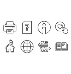 Printer globe and unknown file icons cashback vector