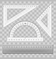 realistic detailed 3d plastic ruler instruments vector image