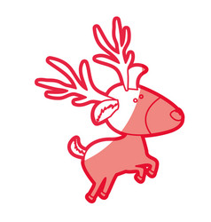 Red silhouette of caricature reindeer jumping vector