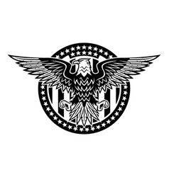 round icon with bald eagle vector image
