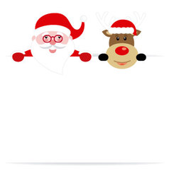 Santa claus and reindeer with poster vector