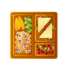 school lunch tray with sandwiches mashed potato vector image