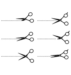 Scissors cutting points line vector