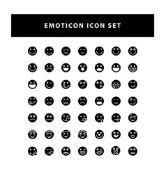 Set emotion icon with glyph style design vector