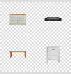 set of furniture realistic symbols with lounge vector image