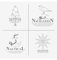Set of sailing boat and nautical logos vector image