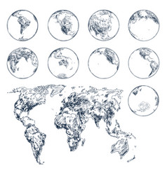 Sketch earth planet continents world map vector
