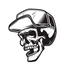 Skull in baseball cap in monochrome style design vector