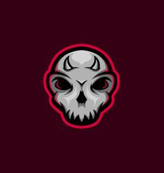 skull mascot logo with little horn gaming m vector image