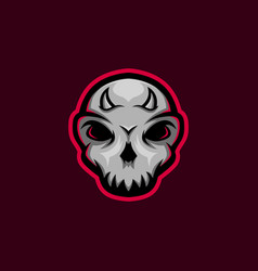 Skull mascot logo with little horn skull gaming m vector