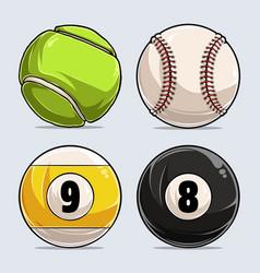 sport balls collection baseball tennis billiard vector image
