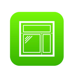 square window frame icon green vector image