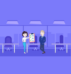 successful business woman showing businessman boss vector image