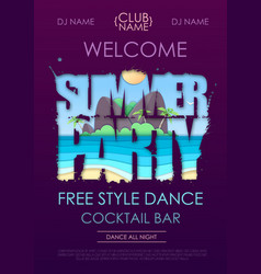 Summer disco party typography poster with beach vector