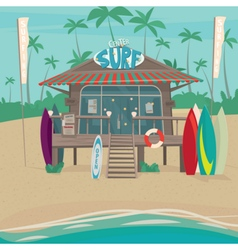 Surfing center with surfboards by the sea vector image