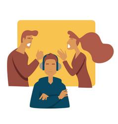 Teen problem parents arguing stress mother father vector