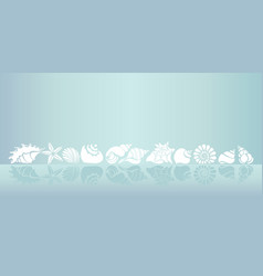 Template seashells line vector