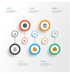trade flat icons set collection of increasing vector image