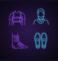 Trauma treatment neon light icons set vector