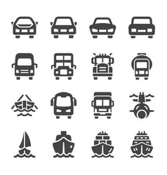 vehicle front icon set vector image