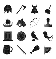 Vikings set icons in black style Big collection vector image