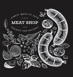 Vintage meat on chalk board hand drawn sausages vector